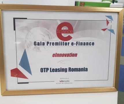 OTP Leasing - premiată la Gala Premiilor e-Finance ediția 2021